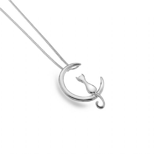 Cat on the Moon Pendant Necklace Sterling Silver 925 Hallmark All Chain Lengths